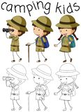 Doodle camping kids character stock illustration