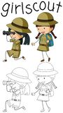 Doodle camping kids character vector illustration