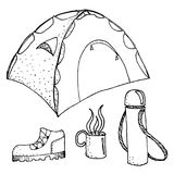 Doodle camping set  illustration. Doodle camping equipment set hand drawn black and white  illustration Stock Photos