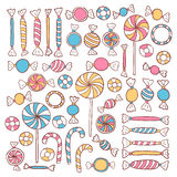 Doodle Candies Sweets Hand Drawn Objects Set Stock Photo
