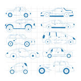 Doodle car collection. Automobile isolated set. Vector illustration Stock Photography