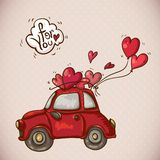 Doodle Card Valentines Day with Red Car Stock Images