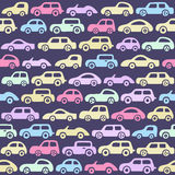 Doodle cars background. Seamless baby boy pattern in vector. Texture for wallpaper, fills, web page background Stock Images