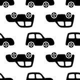 Doodle cars background. Seamless baby boy pattern in vector. Texture for wallpaper, fills, web page background Stock Image