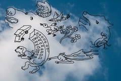 Doodle cartoon on blue sky Royalty Free Stock Photo