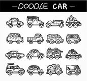 Doodle cartoon car icon set Stock Images