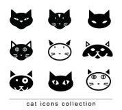 Doodle cartoon cat set illustration, vector. Royalty Free Stock Photography