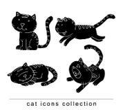 Doodle cartoon cat set illustration, vector. Royalty Free Stock Photo