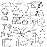 Doodle cartoon items summer holiday collection  For coloring. Vector Stock Photography