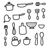 Doodle cartoon kitchen elements royalty free illustration