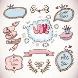 Doodle cartoon love collection. Vintage Vector Hand Drawn Illustration Royalty Free Stock Photo