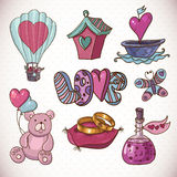 Doodle cartoon love collection Royalty Free Stock Photography