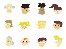 Doodle cartoon people icons Stock Photography