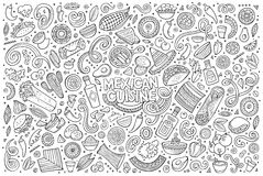 Doodle cartoon set of Mexican Food objects Stock Image