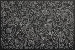 Doodle cartoon set of New Year and Christmas objects Stock Image