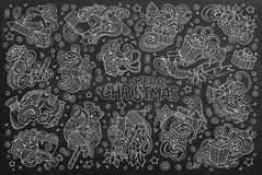 Doodle cartoon set of New Year and Christmas objects Royalty Free Stock Photo