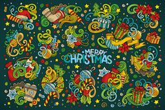 Doodle cartoon set of New Year and Christmas objects Royalty Free Stock Image