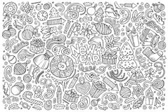 Doodle cartoon set of New Year and Christmas objects Stock Photography