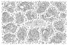 Doodle cartoon set of New Year and Christmas objects Stock Images
