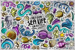 Doodle cartoon set of Sea Life objects and symbols Stock Photography