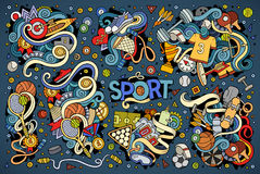 Doodle cartoon set of Sport designs Royalty Free Stock Photo