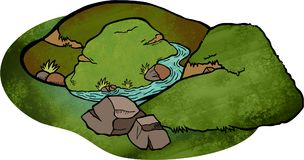 Cartoon Landscape. Doodle cartoon of a valley and hill landscape Royalty Free Stock Photo
