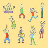 Doodle cartoons. Collection of funny doodle characters Royalty Free Stock Photo