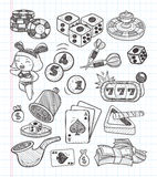 Doodle casino icons Royalty Free Stock Images