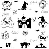 Doodle of castle pumpkins cat monster element halloween Royalty Free Stock Image