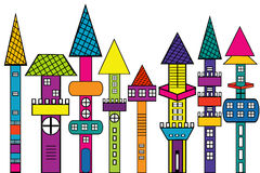 Doodle castle, stylized colored houses Royalty Free Stock Photography