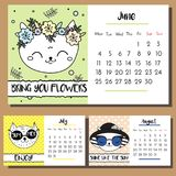 Doodle cat calendar design template. 2018 calendar with funny hand drawn style cats characters. Summer. Season Stock Image