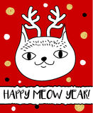 Doodle cat in Christmas deer horns headband. Modern postcard, flyer design template. Seasonal winter new year greeting card.  Stock Photo