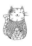 Doodle of cat illustration decorated. Hand drawn doodle outline vector cat illustration decorated Stock Photo