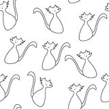 Doodle cat seamless pattern Stock Images