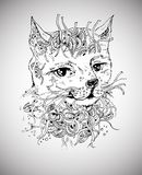 Doodle cat. Sketch vector ilustration on white Stock Photos