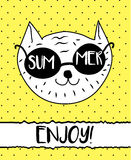 Doodle cat in summer sunglasses. Modern postcard, flyer design template stock illustration