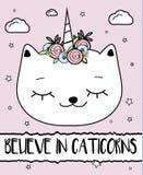 Doodle cat with unicorn horn. Caticorn. Modern postcard, print design template. Inspirational greeting card