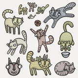 Doodle cats. Illustration of hand drawn cute cats set Stock Image