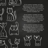 Doodle Cats Chalkboard Poster Background Royalty Free Stock Images