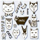 Doodle cats collection. Hand drawn cartoon faces Stock Image