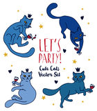 Doodle cats drinking wine Royalty Free Stock Image