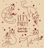 Doodle cats drinking wine Stock Photography
