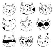 Doodle cats. Hand drawn sketch funny cats heads, icons, design elements. Doodle cats. Hand drawn sketch cats heads, icons, design elements, stickers, funny Stock Photography