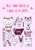 Doodle cats, love postcard. Valentine greeting card. Vector coloring page Royalty Free Stock Image