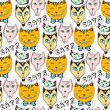 Doodle cats pattern. Hand drawn colorful seamless page. Vector art. Royalty Free Stock Image