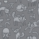Doodle cats seamless background. Illustration of hand drawn cute cats seamless background Stock Images