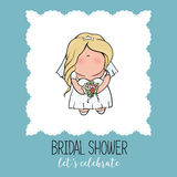 Doodle character. cute bride. Romantic announcement for bridal shower party. invitation or congratulation card in cute Stock Photo