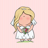 Doodle character. cute bride. Romantic announcement for bridal shower party. invitation or congratulation card in Royalty Free Stock Image