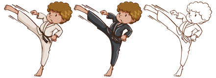 Doodle character for martial arts Royalty Free Stock Photo
