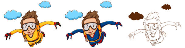Doodle character for skydiver Stock Photos